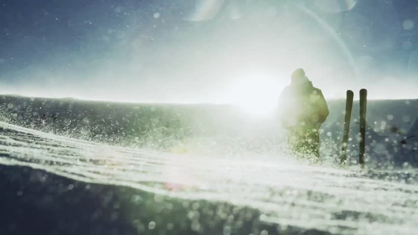Man Reaching Success Pose Mountain Snow Storm Sun Flare