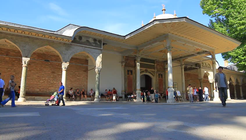 ISTANBUL - MAY 16, 2013: The entrance into the inner court also known as the Third Courtyard in the Topkapi Palace. It named as Gate of Felicity