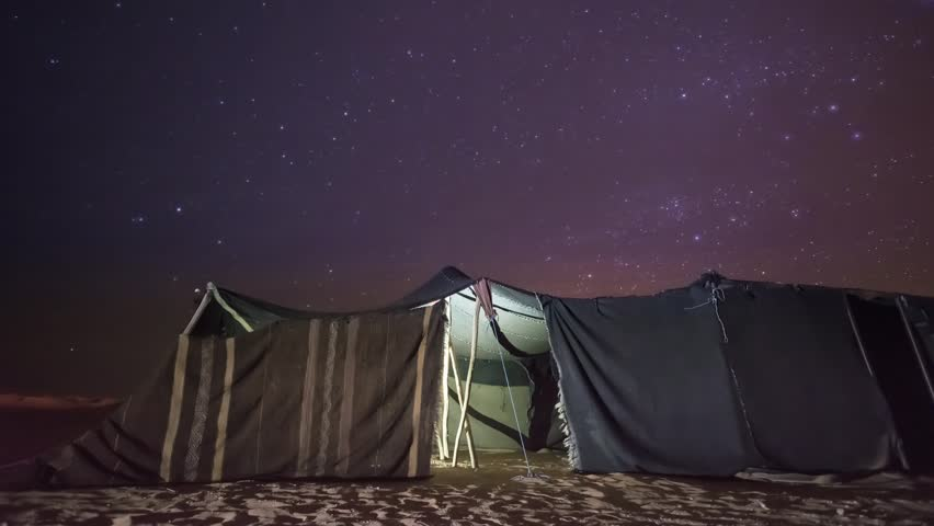 Time-lapse of Haima night in Erg Chebbi Desert, Morocco