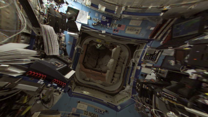 International Space Station (ISS) interior. Perfect for videos about: ISS, International Space Station, NASA, space exploration, discovery, science, orbit, high tech, astronaut
