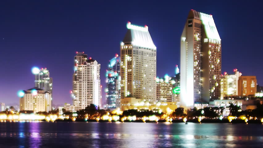 Time Lapse of San Diego Skyline Night Cityscape -Zoom Out-