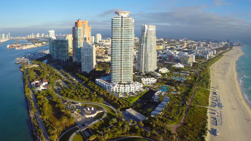 Aerial footage of the tip of Miami Beach
