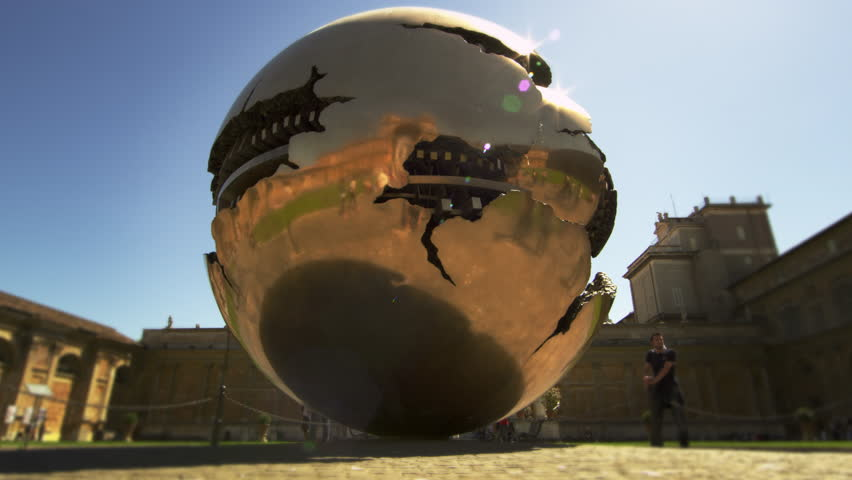 "ROME, ITALY - MAY 5, 2012: Slow motion close up shot of ""Sphere within Sphere"" - 4K stock footage clip"