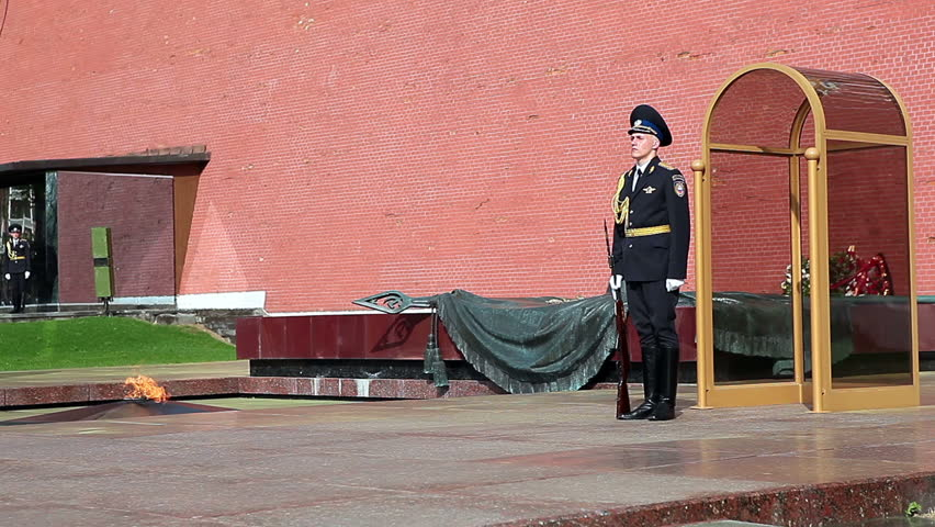 MOSCOW, RUSSIA - CIRCA APRIL, 2012: Soldier stands in guard. The honor guard at the Eternal Flame, The Kremlin, Moscow - HD stock footage clip