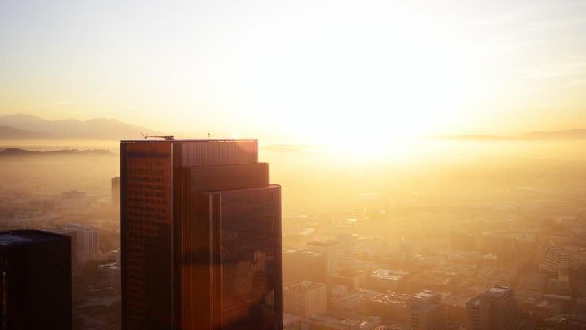 4K Time Lapse of Sunrise in Los Angeles Skyscraper -Pan-