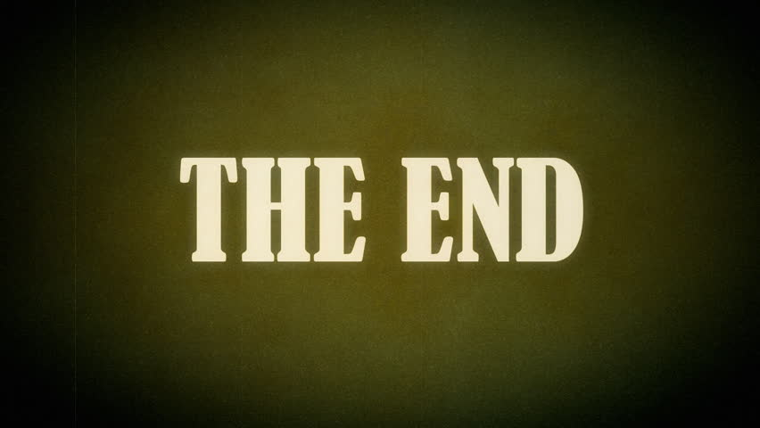 Animation of a retro vintage old fashioned end title as seen in old western movies. Hollywood-style font typography.