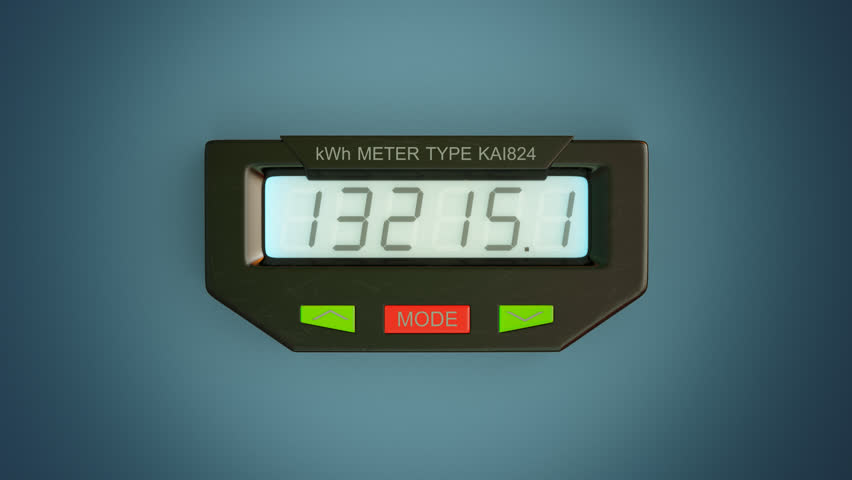 Kilowatt Usage Meter : Typical residential analog electric meter with transparent