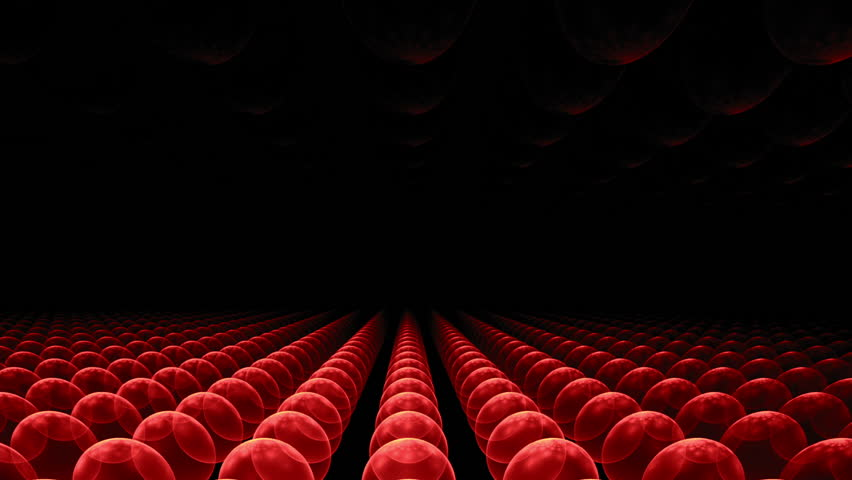 red orbs horizon, perspective view,    animation, 30fps, HD1080, seamless loop