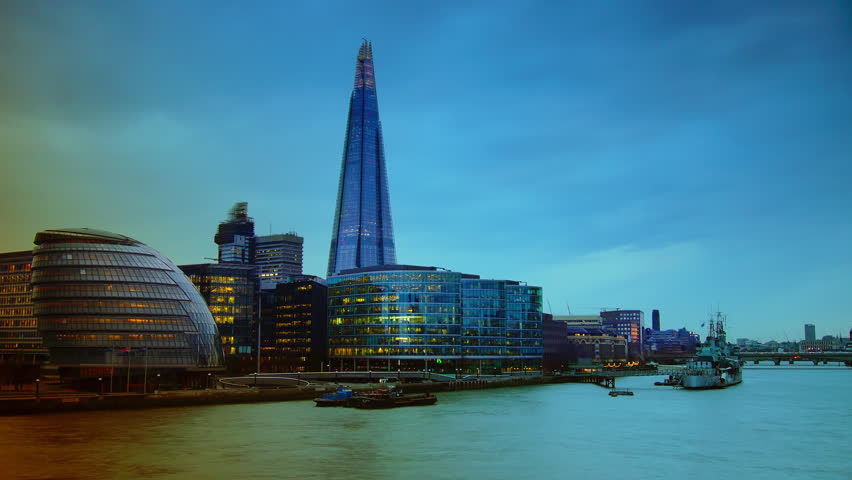 LONDON - APRIL 10: London skyline on Thames river with Shard in the background. Completed in 2012, it is the tallest building in the European Union. time lapse view,4k