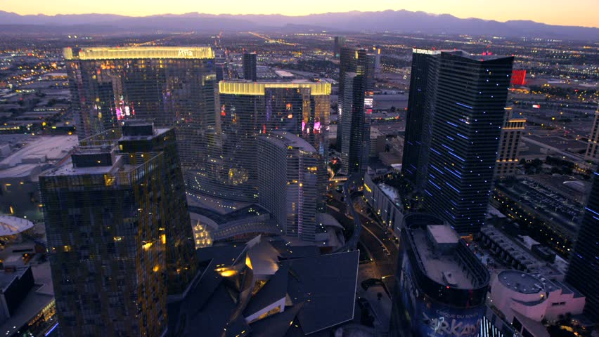 LAS VEGAS, NEVADA, CIRCA 2013 - Aerial view of Las Vegas, Nevada. - HD stock footage clip