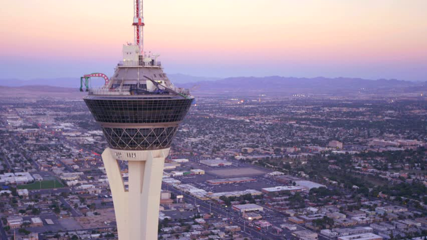 LAS VEGAS, NEVADA, CIRCA 2013 - Aerial view of the Stratosphere Hotel in Las Vegas, Nevada. - HD stock footage clip