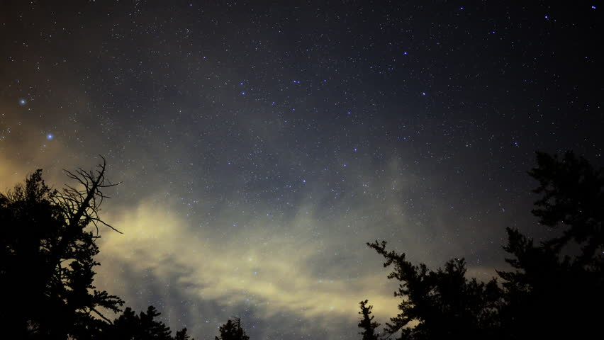 Time Lapse of Starry Sky over Alpine Forest -Zoom In-