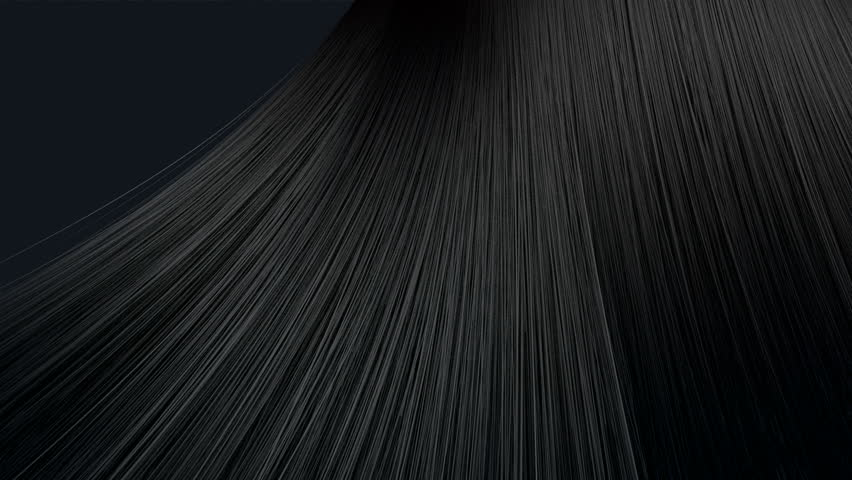 A bunch of black hair blowing in a breeze on an a dark  background - HD stock video clip
