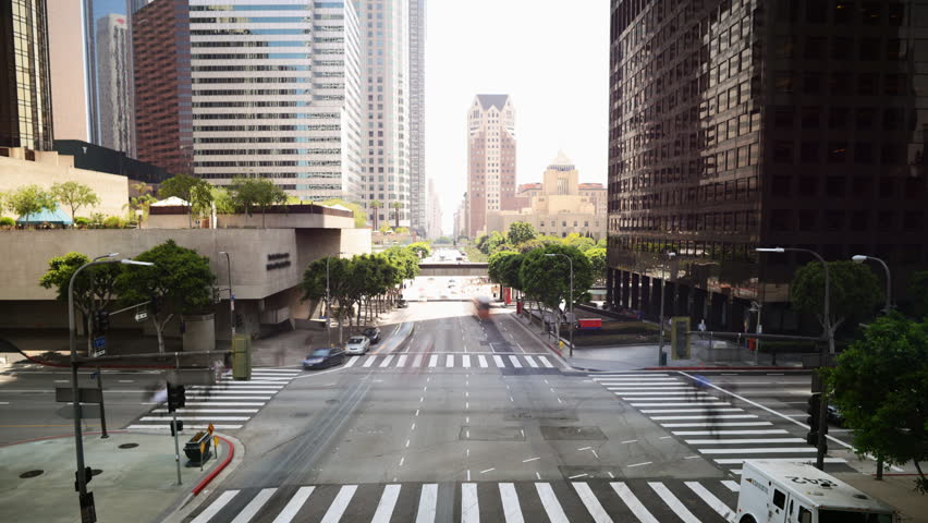 Time Lapse of Downtown Intersection in Los Angeles in Daytime -Tilt Down-