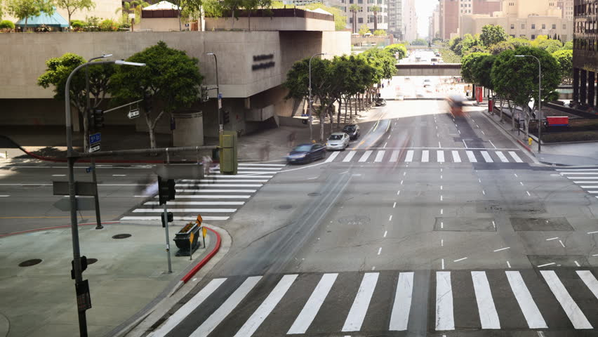 4K Time Lapse of Downtown Intersection in Los Angeles in Daytime -Pan-