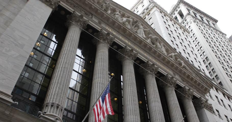 NEW YORK CITY, USA - APRIL 20, 2013 American Flag, Wall Street New York Stock Exchange, Financial District US Market ( Ultra High Definition, Ultra HD, UHD, 4K, 2160P, 4096x2160 )