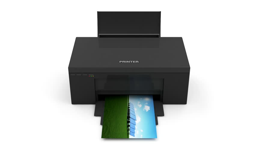 Animation of Modern Printer Printing Photo. HQ Video Clip with Chroma key and Alpha Channel