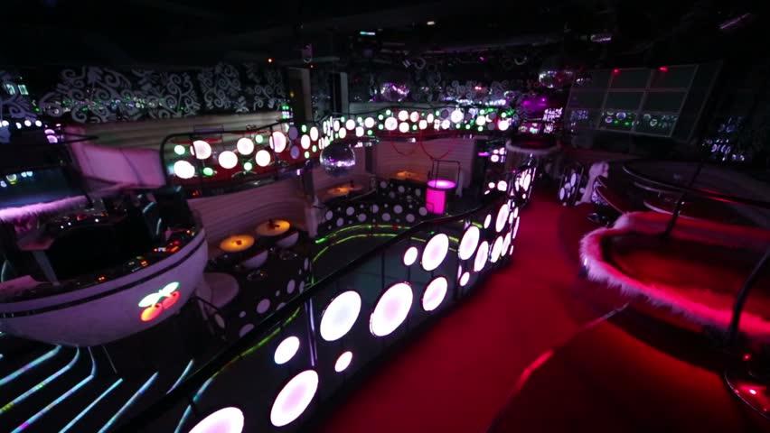 Empty Night Club Illuminated With Flashing Lights. Stock Footage Video ...