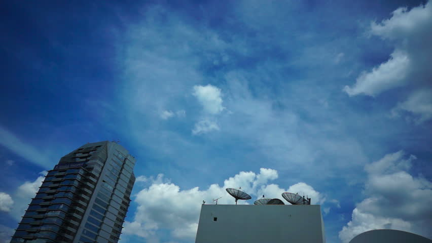 Skyscraper roofs with antennas in Bangkok - HD stock video clip