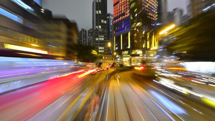Hongkong street night driving video pov