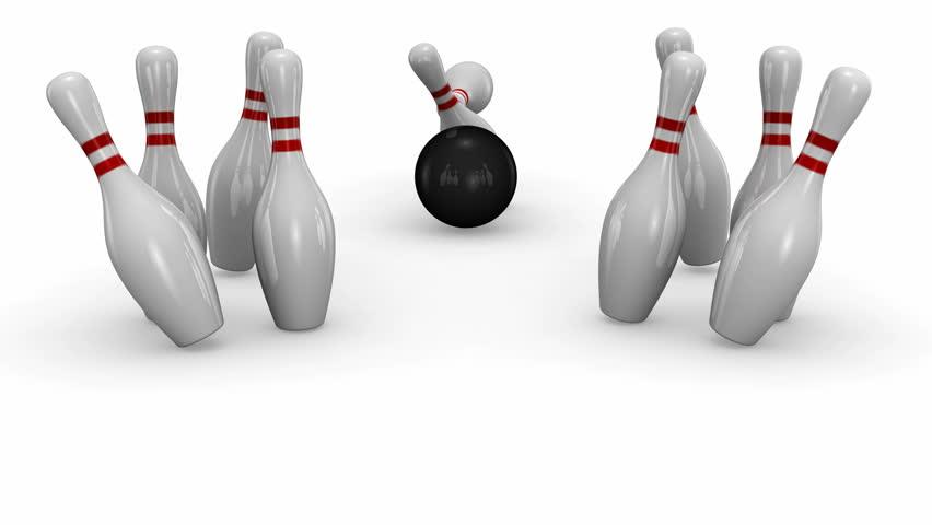 Bowling Strike. White background