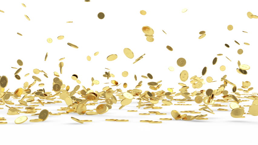 Rain from Golden Coins Business Financial Concept. Animation of Falling Golden Coins on white background. HQ Video Clip with Alpha Channel