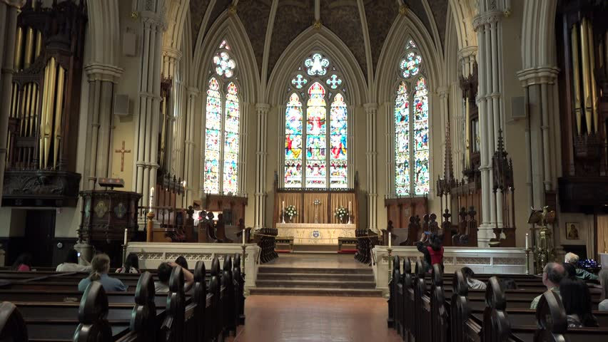 TORONTO,CANADA-MAY 18,2014:Inside St. James Cathedral.It is the home of the oldest congregation in the city. The parish was established in 1797. It is a prime example of Gothic Revival architecture.