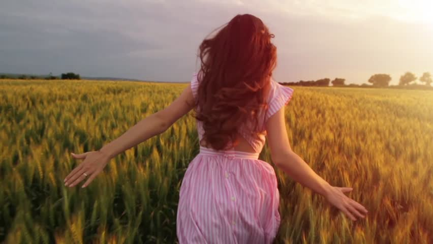 Slow Motion Vintage Dress Female Running Wheat Field Freedom