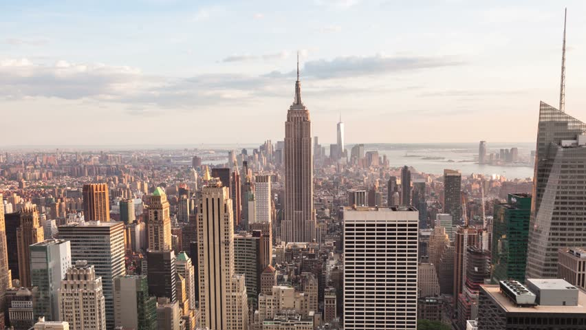 4K Aerial Sunset timelaspe of Manhattan skyline - New York - USA