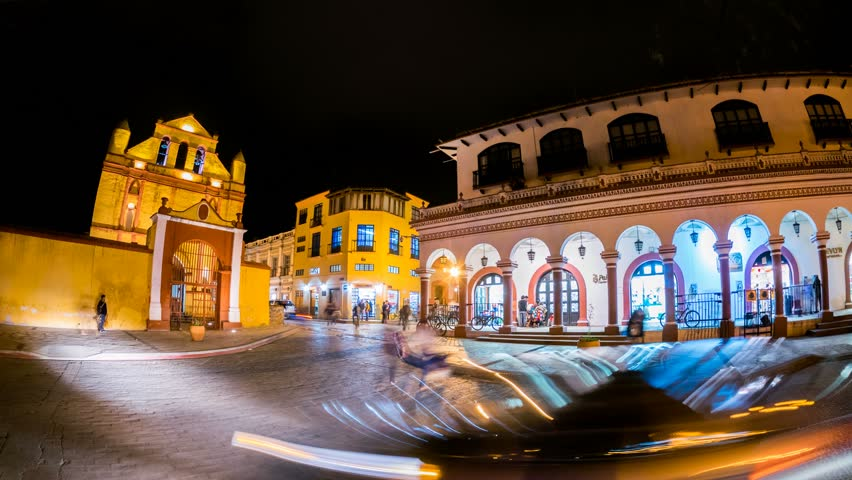 SAN CRISTOBAL - 20 FEB: Timelapse view of San Cristobal de las Casas in Mexico by nigh in the Chiapas region and known for its indigenous culture on 20 February 2014 in San Cristobal, Mexico