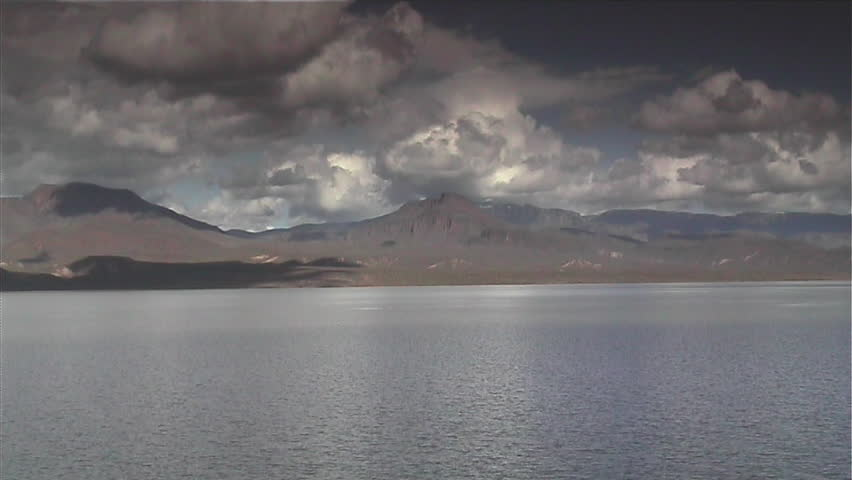 Thunderstorm approaching Lake Roosevelt Arizona - HD stock footage clip