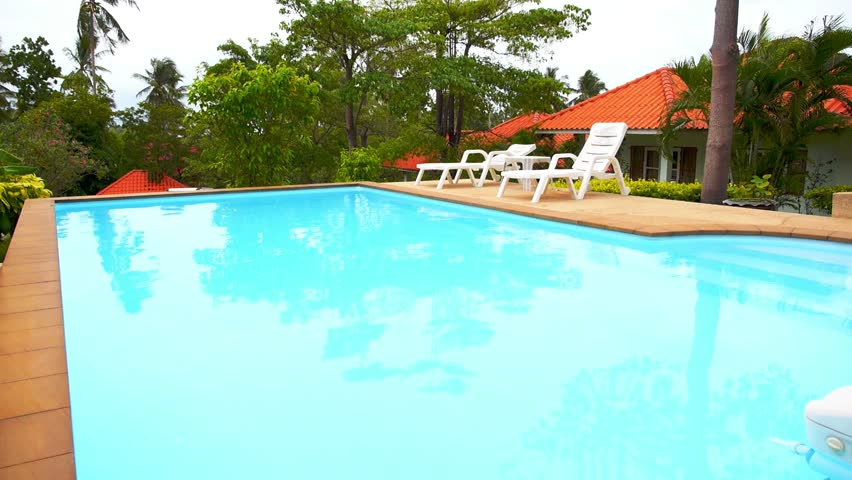 Private Swimming Pool Panorama In Tropical Thailand Sunny Day On Exotic Island Of Koh Samui