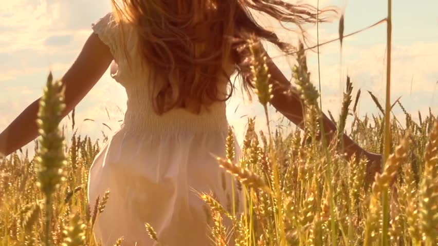 Beauty girl running on yellow wheat field. Freedom concept. Happy woman outdoors. Harvest. Wheat field in sunset. Slow motion 240 fps. Slowmo. 1080p full HD video footage - HD stock video clip