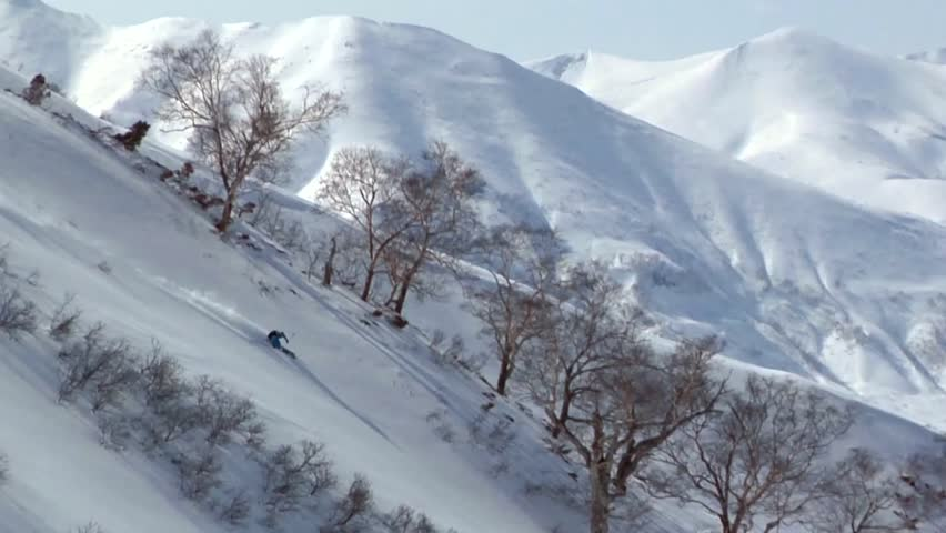 Skier races down a steep slope with great speed, avoids trees and bushes with precision