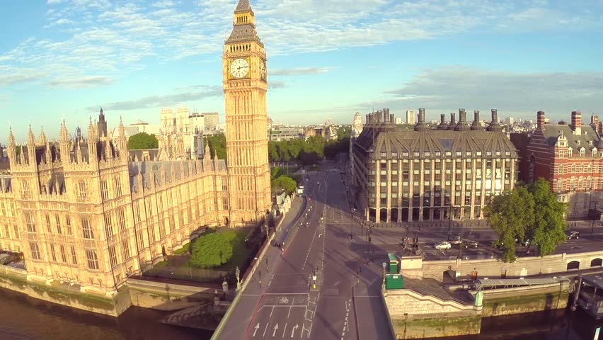 Aerial view of the famous landmark Big Ben and Houses of Parliament in London's city of Westminster, situated by the side of the river thames