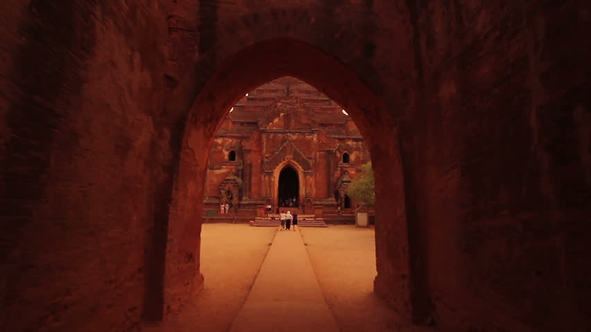 Tracking shot of a temple entrance in Bagan, Myanmar.