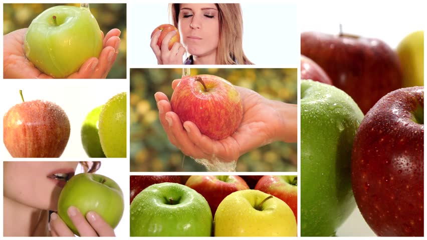 apple montage including fruits and healthy young women stock footage video 7183654 shutterstock. Black Bedroom Furniture Sets. Home Design Ideas