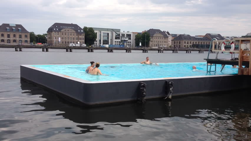 berlin germany august 10 outdoor swimming pool on river banks august 10 2014 in berlin. Black Bedroom Furniture Sets. Home Design Ideas