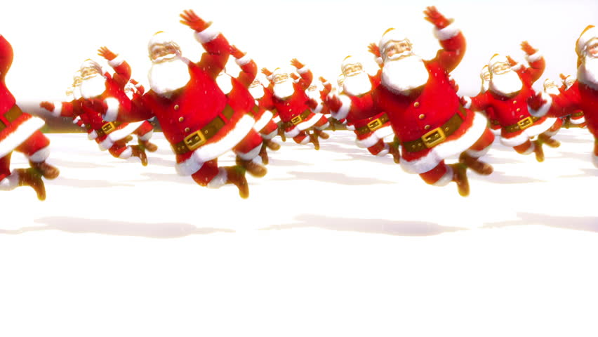 Santas clicking their heels loop