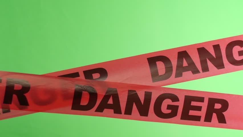Moving Danger Warning Tape Overlay Green Screen Luma Matte - 4K stock video clip