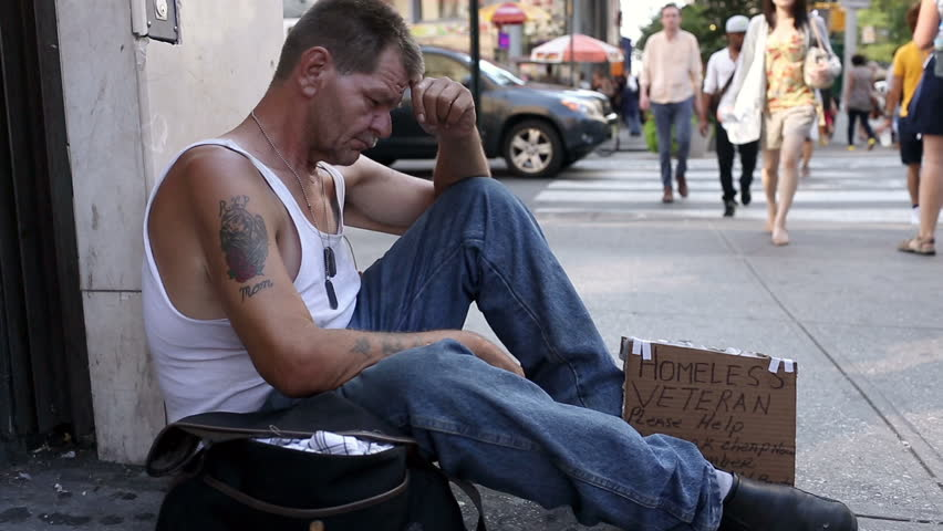 Unemployed Person Homeless Veteran With ...