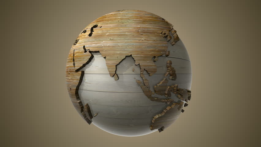 centered wood globe is spinning round with loop and alpha provided in ultra hd resolution