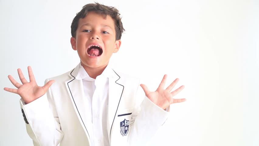 Cute child screaming at camera - HD stock video clip