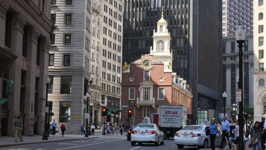 BOSTON - AUGUST 28, 2014: The Old State House In Downtown Boston is the start of the freedom trail linking Boston's historic sites on a walking trail.