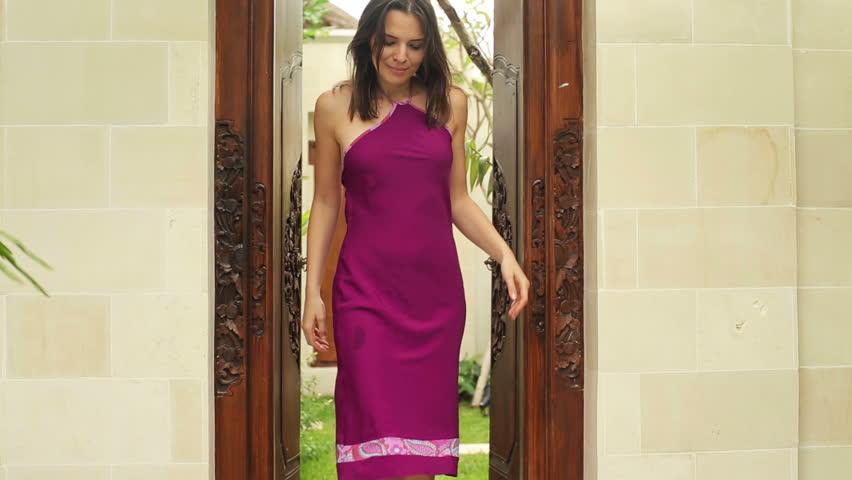 Woman Open Door And Walking In The Garden Stock Footage
