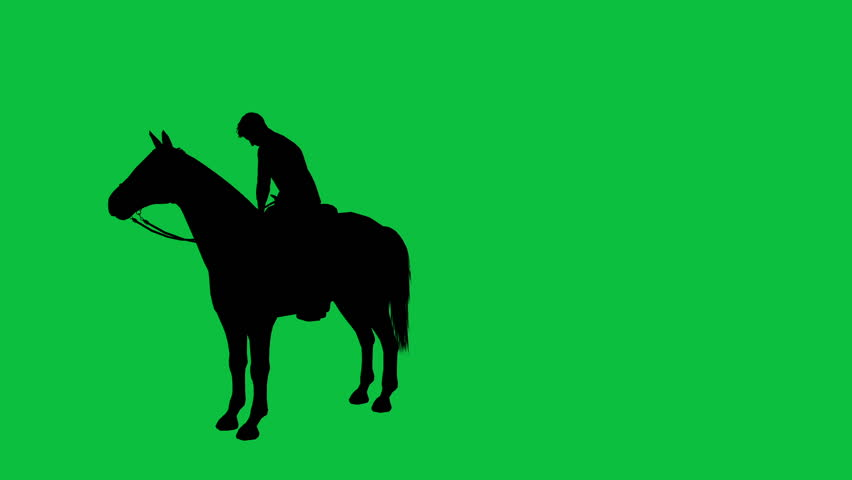 3d animation of man on a horse galloping - separated on green screen