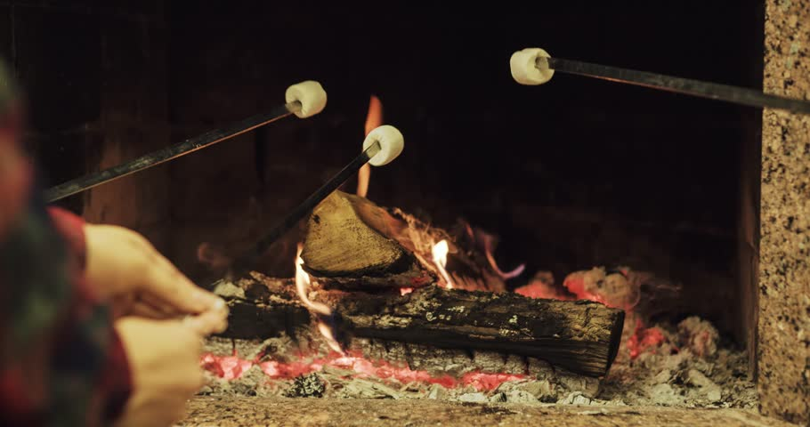 Family Roasting Marshmallows By The Fire. Shot In High ...