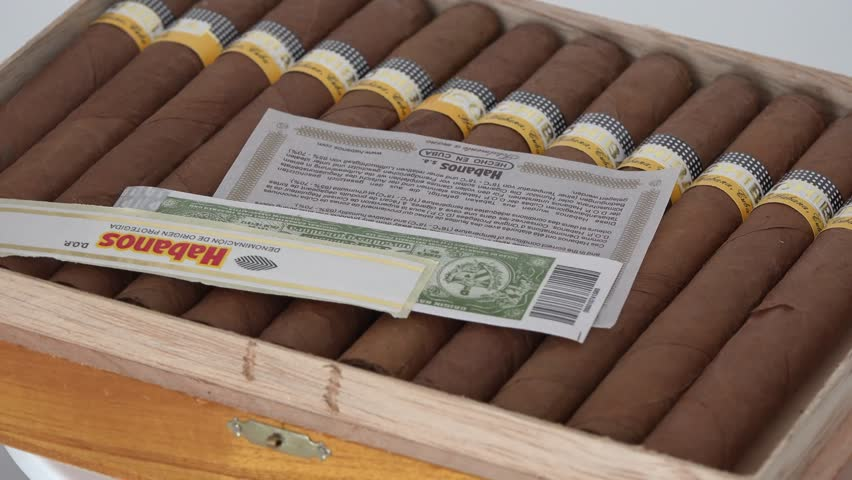 TORONTO,CANADA-SEPTEMBER 28, 2014: Box of Cohiba Cigars brought from Cuba. Cohiba is a brand of cigars produced in Cuba for Habanos S.A., the Cuban state-owned tobacco company,