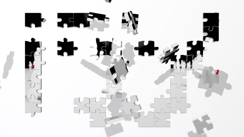 White and Red silhouettes puzzle
