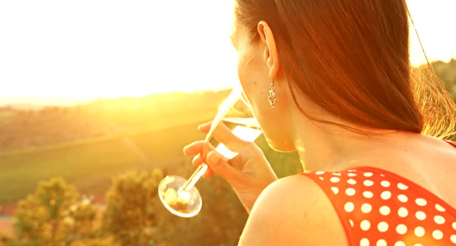 Woman Drinking Wine Glass Vineyard Landscape Tuscany Nature Beauty